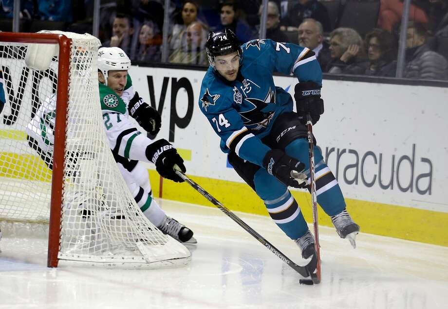 Sharks defenseman Dylan DeMelo had career-best 20 points — all on assists — in a career-high 63 games in 2017-18. Photo: Marcio Jose Sanchez / Associated Press