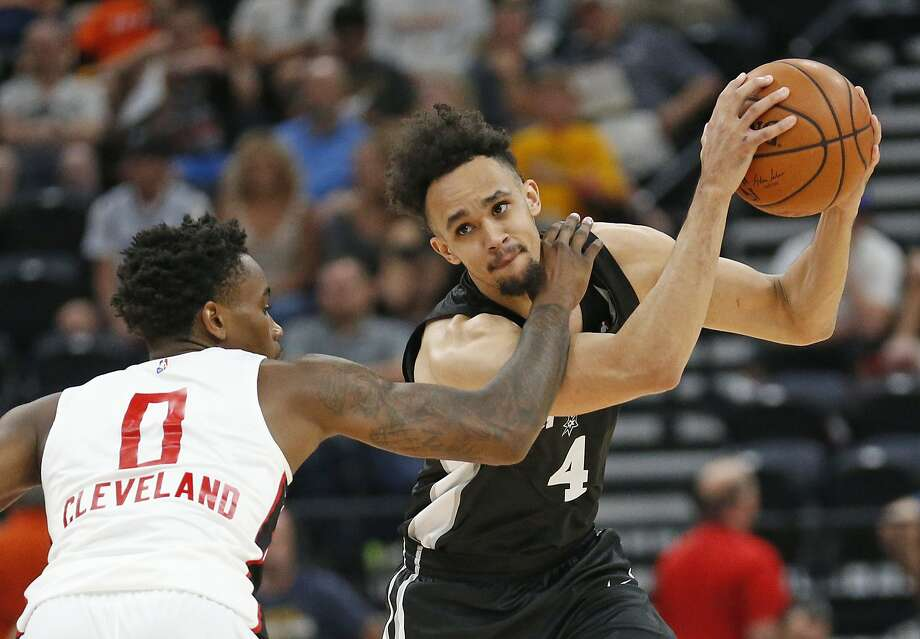 Atlanta Hawks guard Antonius Cleveland (0) guards San Antonio Spurs guard Derrick White (4) during the second half of an NBA summer league basketball game Tuesday, July 3, 2018, in Salt Lake City. (AP Photo/Rick Bowmer) Photo: Rick Bowmer, Associated Press