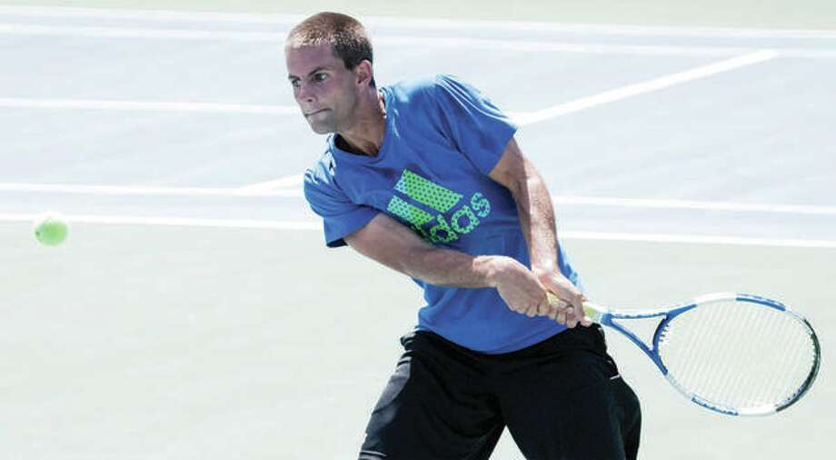 Two-time defending Men's Open Singles champion Devan Faulkenberg of Troy defeated James Claywell of Godfrey in a quarterfinal of the Alton Open Tennis Tournament Saturday at Gordon Moore Park. Photo:     Nathan Woodside | The Telegraph