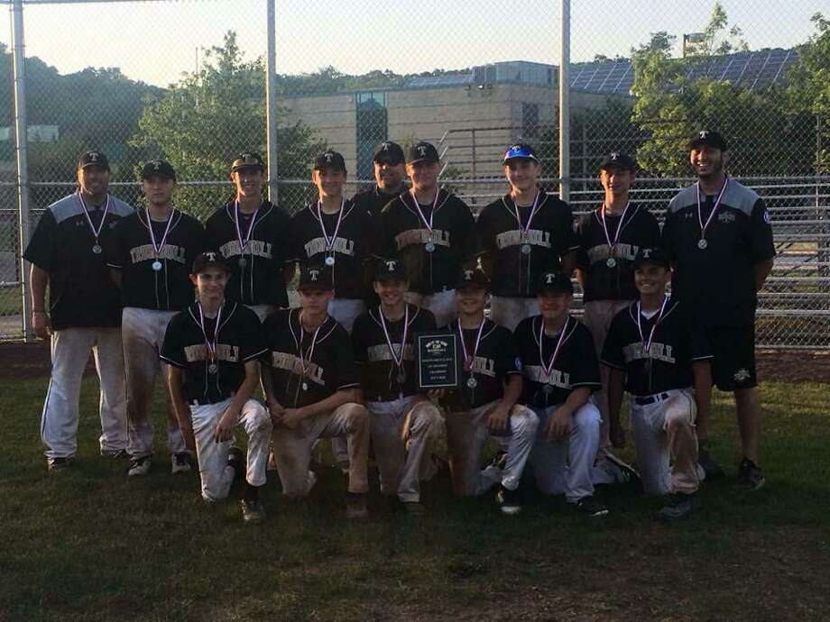 The Trumbull Babe Ruth 14U All Stars are (front row, L-R) Johnny Bova, Bryan Kraus, Joey DeRienzo, Erik Osterberg, Charlie Langworth,and Justin Delaney (second row, L-R) Head Coach Mike Buswell, Grayson DeFelice, Jack Wallace, Michael Brown, Assistant Coach John Bova, Dylan Moran, Niko Coclin, Jack Ligouri, and Assistant Coach Tyler Feldman. Photo: Contributed Photo / Contributed Photo / Stamford Advocate Contributed