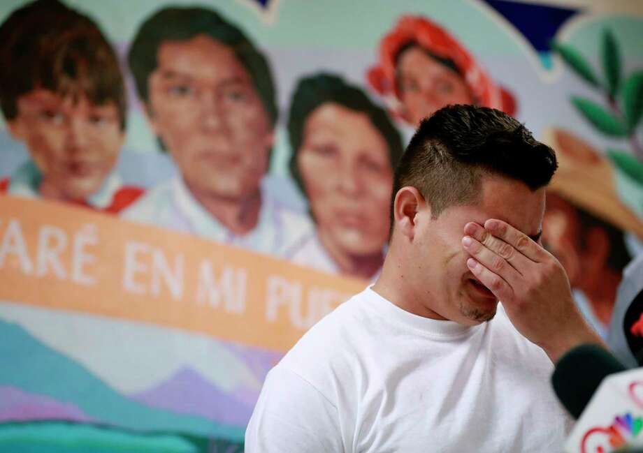 FILE - In this June 25, 2018 file photo, Christian, from Honduras, recounts his separation from his child at the border during a news conference at the Annunciation House,in El Paso, Texas.  A judge has put off at least until Monday, July 9,  a ruling on a Trump administration request for more time to reunite more than 100 children under 5 who were separated from their parents after crossing the border. U.S. District Judge Dana Sabraw ordered the Justice Department to share a list of the 101 children by Saturday afternoon with the American Civil Liberties Union, which successfully sued the administration to force the young children and families to be reunited by Tuesday. (AP Photo/Matt York, File) Photo: Matt York / Copyright 2018 The Associated Press. All rights reserved.