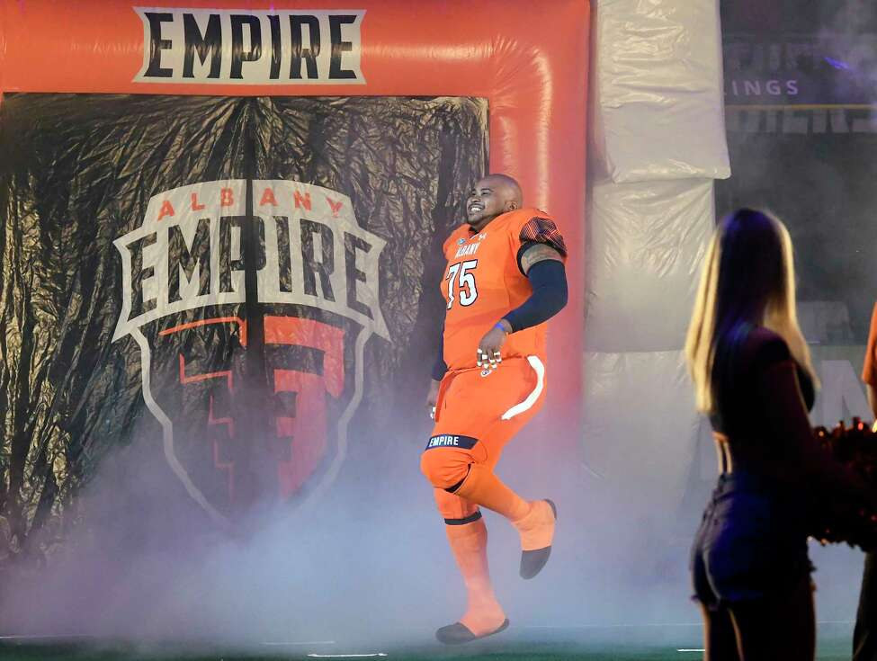 Albany Empire's Hayworth Hicks (75) dances as he takes the field against the Philadelphia Soul during a arena football game Saturday, July 7, 2018, in Albany, N.Y. (Hans Pennink / Special to the Times Union)