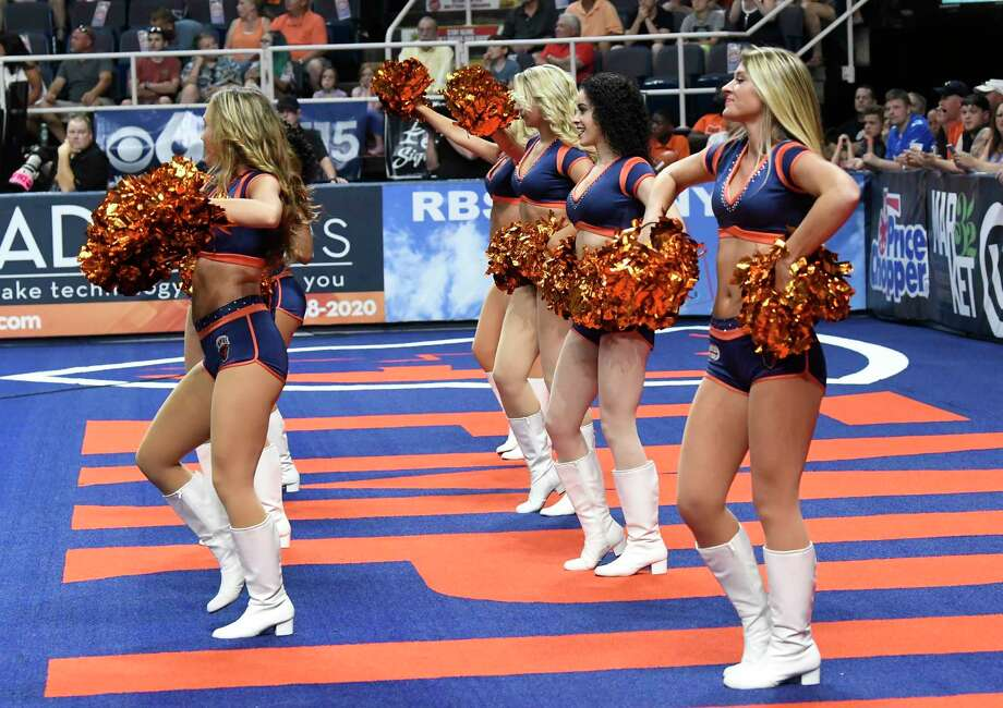 Members of the Albany Empire dance squad are seen performing during a arena football game against the Philadelphia Soul Saturday, July 7, 2018, in Albany, N.Y. (Hans Pennink / Special to the Times Union) Photo: Hans Pennink / Hans Pennink