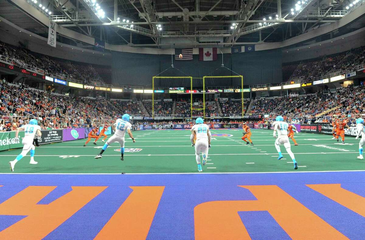 Fans watch the Albany Empire play the Philadelphia Soul during a arena football game Saturday, July 7, 2018, in Albany, N.Y. (Hans Pennink / Special to the Times Union)