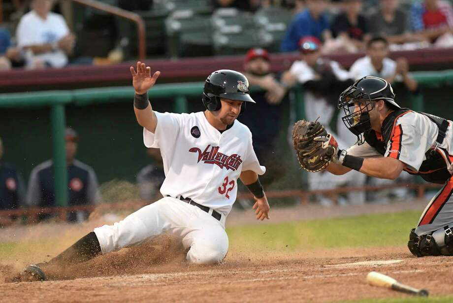 Tri-City ValleyCats Trey Dawson (32) is tagged out at home by Aberdeen Ironbirds' catcher Cody Roberts (48) during a minor league baseball game on Saturday, July 7, 2018, in Troy, N.Y. (Hans Pennink / Special to the Times Union) Photo: Hans Pennink / Hans Pennink