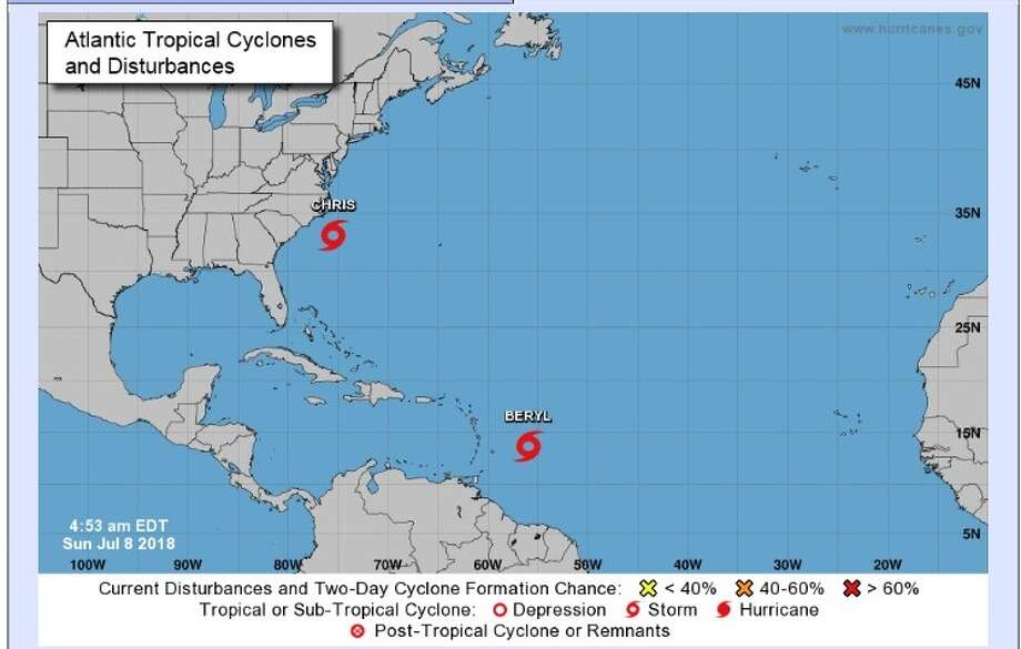 The National Hurricane Center tweeted about 4 a.m. Sunday, Central time, that the East Coast tropical depression had formed into Tropical Storm Chris. Photo: National Weather Service/NOAA