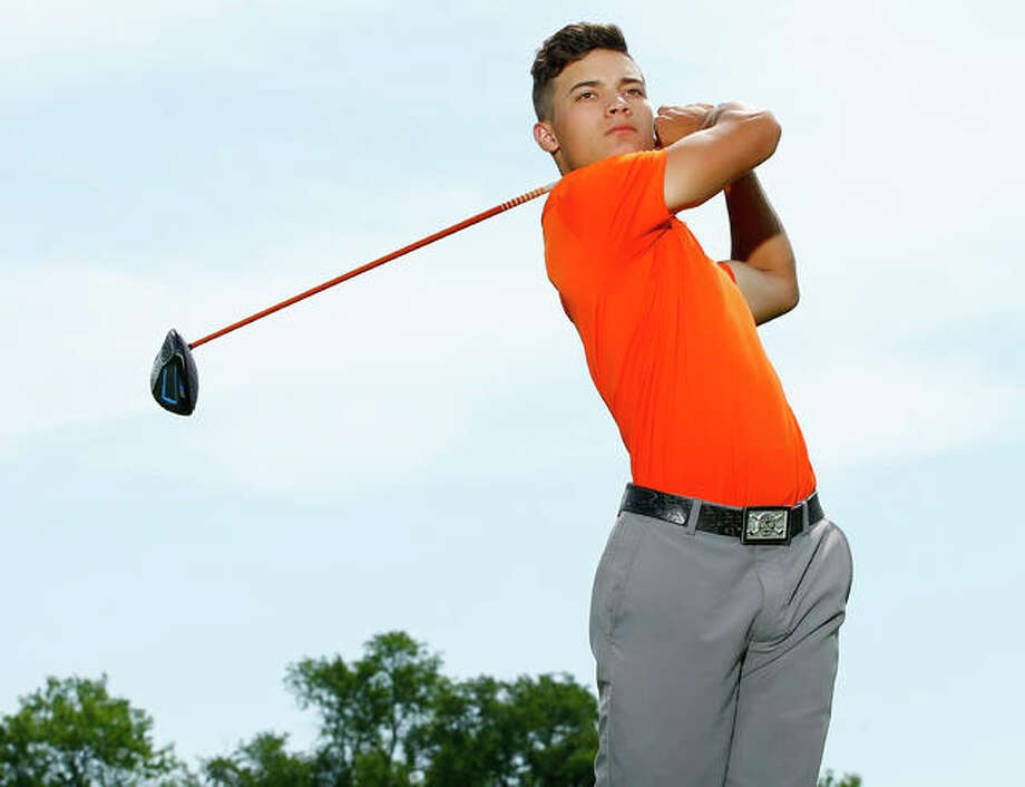 Edwardsville's Ben Tyrrell is the 2017 Telegraph Boys Golfer of the Year after placing third at the Class 3A state tournament to become the Tigers' first three-time state medalist. Photo:     Billy Hurst / For The Telegraph
