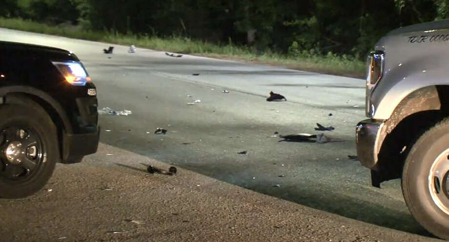 A man was hospitalized with severe brain injuries after his moped hit a horse in an overnight wreck. Photo: Metro Video
