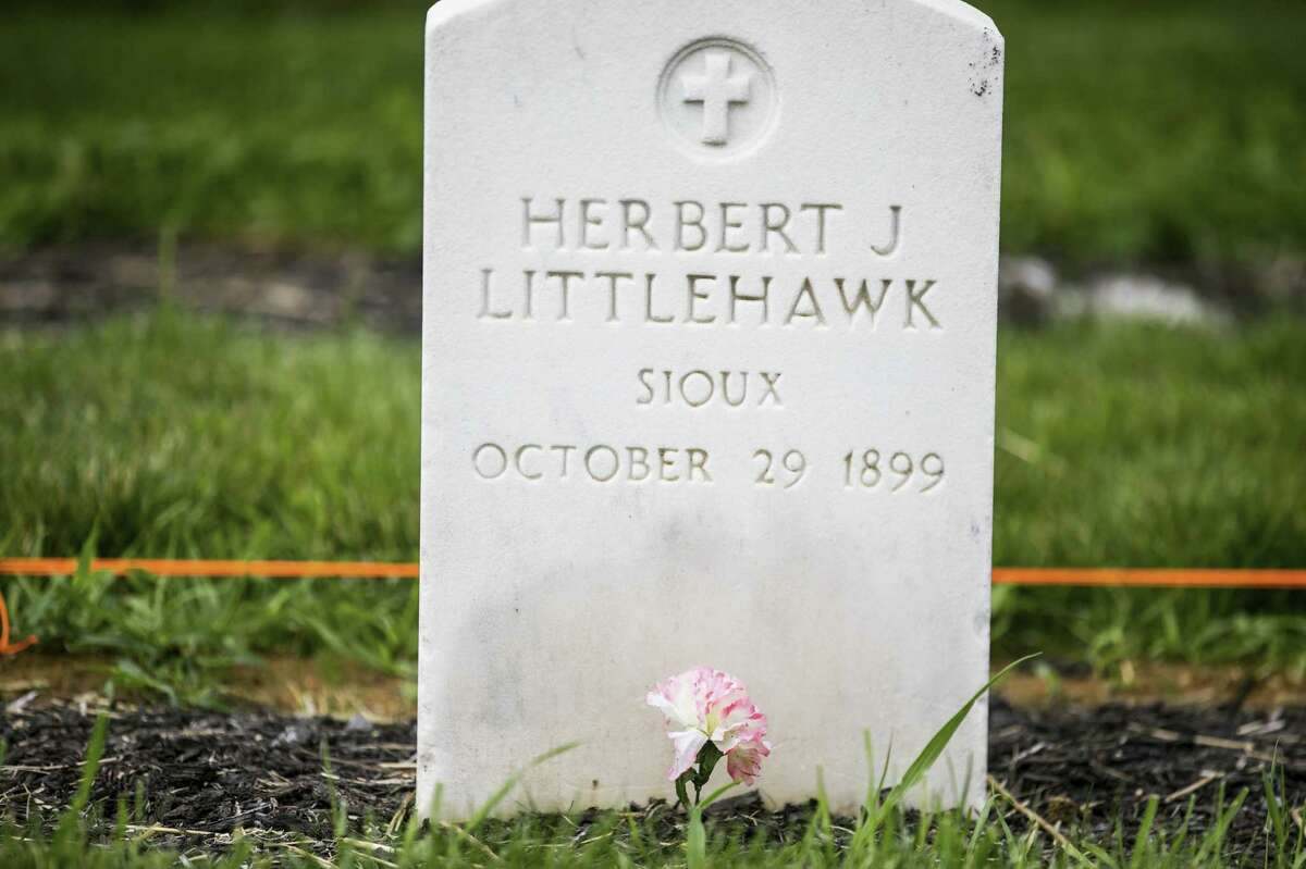 The tombstone at Carlisle for Herbert J. Little Hawk, an Oglala Lakota student whose remains were recently returned to his family.
