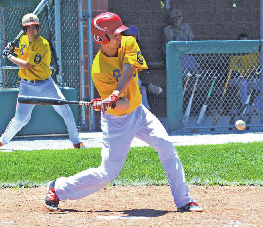 Edwardsville Post 199's Nick Yates connects for a hit during the Bears' victory over Harrisburg on Sunday at Alton High in Godfrey. Photo:       Scott Marion / Hearst Newspapers
