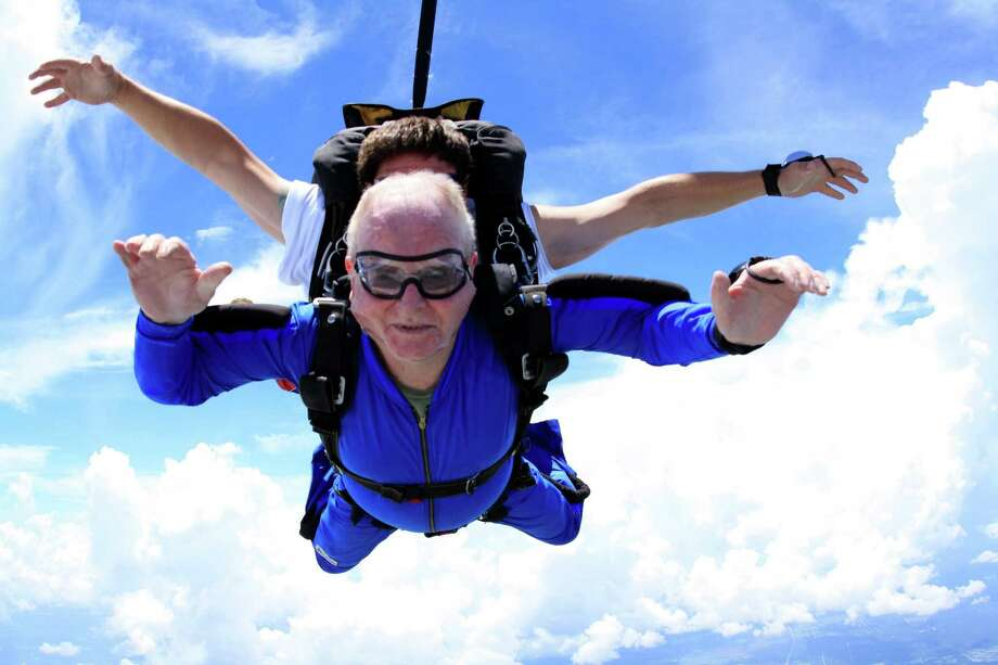 The last time Ed Henderson of Conroe went skydiving over Houston was five years ago, now he plans to hit the downward angle at 125 mph again--this time at age 80 next week. He challenges other senior citizens to do exciting things. Photo: Submitted Photo / Submitted Photo