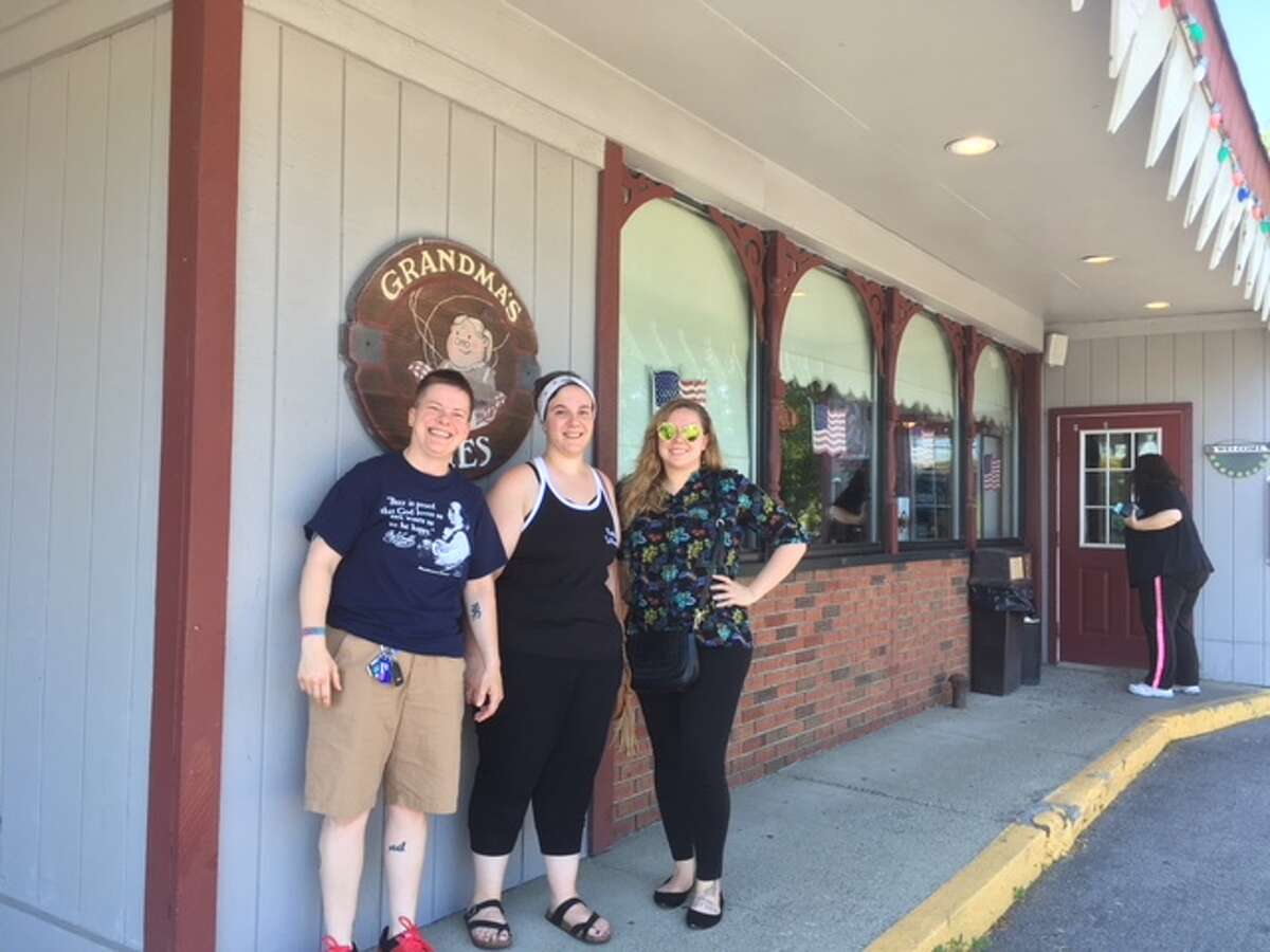 From left, Melissa Wilkie, Dena DeFazio and Maria Morrissey come and have their last meal and slice of pie on Sunday, July 8, 2018 before Grandma's PIes and Restaurant closes for good on July 15. (Wendy Liberatore/Times Union)