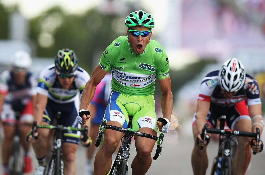 Slovakian rider Peter Sagan, competing for the Liquigas- Cannondale team, wins Stage 2 of the Tour de France. Photo: Bryn Lennon / Getty Images