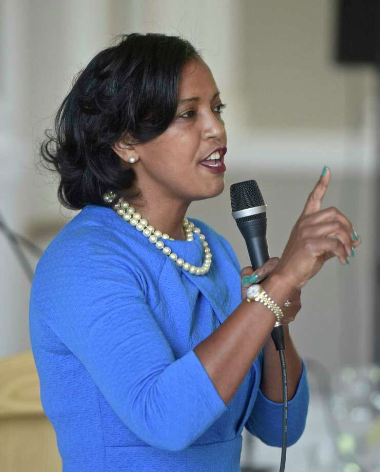 Jahana Hayes speaks during the Washington Town Committee forum for  candidates in the Connecticut 5th Congressional District, featuring Hayes and Mary Glassman, Sunday, July 8, 2018, at Bryan Memorial Town Hall, Washington, Conn. Photo: H John Voorhees III, Hearst Connecticut Media / The News-Times