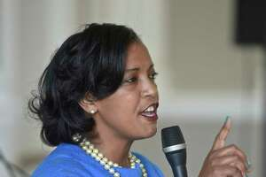 Jahana Hayes speaks during the Washington Town Committee forum for  candidates in the Connecticut 5th Congressional District, featuring Hayes and Mary Glassman, Sunday, July 8, 2018, at Bryan Memorial Town Hall, Washington, Conn.