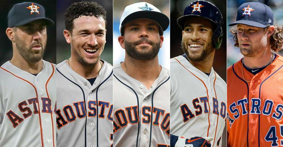 Justin Verlander, Alex Bregman, Jose Altuve, George Springer and Gerrit Cole will represent the Astros at the 2018 MLB All-Star Game in Washington, D.C. Photo: Getty