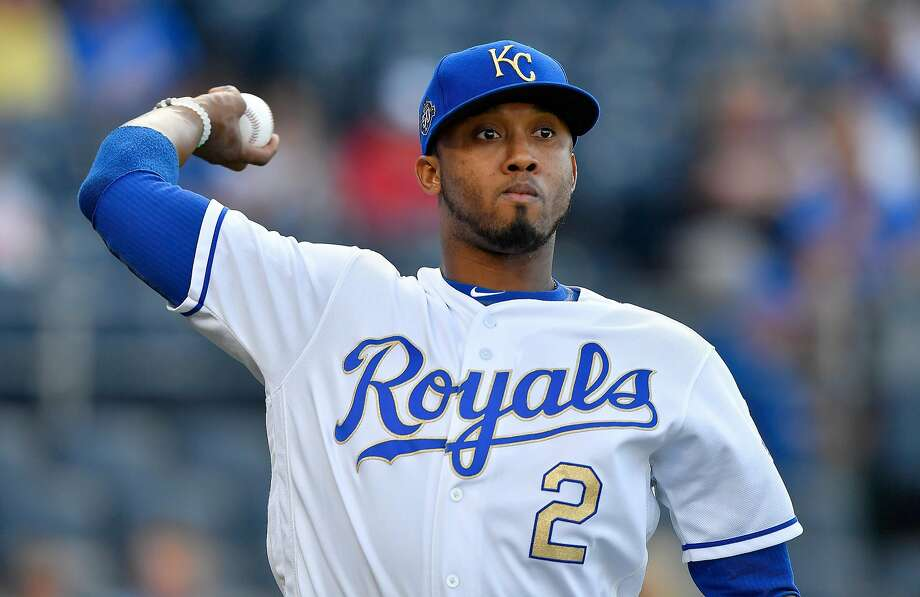 The Kansas City Royals' Alcides Escobar warms up before a game against the Boston Red Sox on Friday, July 6, 2018, at Kauffman Stadium in Kansas City, Mo. (John Sleezer/Kansas City Star/TNS) Photo: John Sleezer / TNS