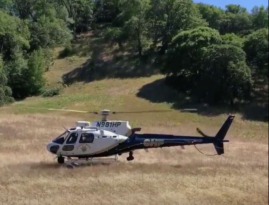 An injured hiker was airlifted to safety by a CHP helicopter from a remote portion of Jack London State Park on Sunday. Photo: California Highway Patrol/Screenshot