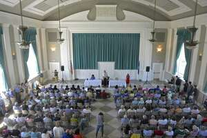 Washington Town Committee hosted a forum featuring Mary Glassman and Jahana Hayes, candidates for Connecticut's 5th Congressional District. Sunday, July 8, 2018, at Bryan Memorial Town Hall, Washington, Conn.