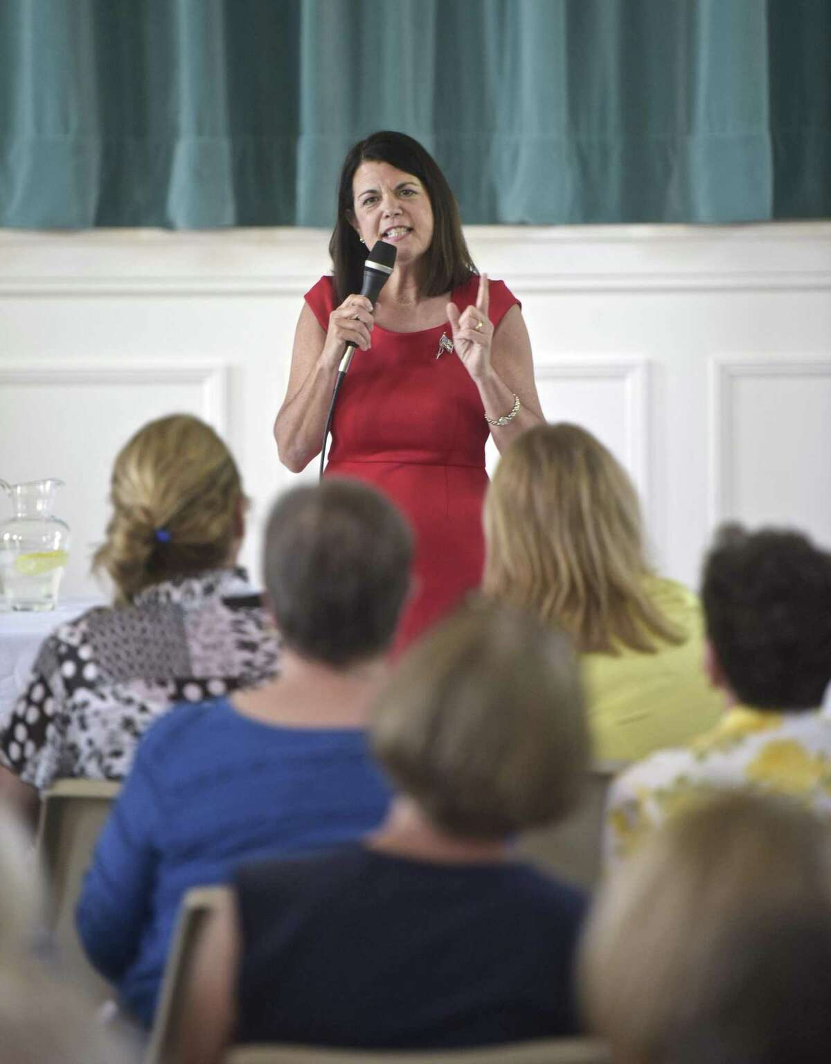 Mary Glassman speaks during the Washington Town Committee forum for candidates in the Connecticut 5th Congressional District, featuring Glassman and Jahana Hayes, Sunday, July 8, 2018, at Bryan Memorial Town Hall, Washington, Conn.