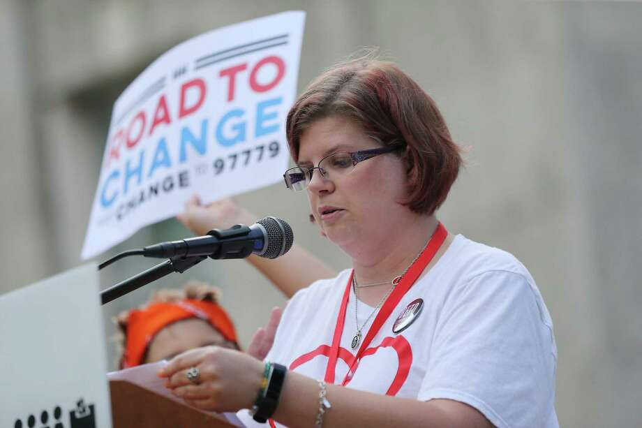 Rhonda Hart, who is a bus driver for Santa Fe, and whose daughter was killed in the school shooting speaks during the Road to Change tour stop at city hall on Sunday, July 8, 2018 in Houston.  (Elizabeth Conley/Houston Chronicle) Photo: Elizabeth Conley, Staff / Houston Chronicle / ©2018 Houston Chronicle