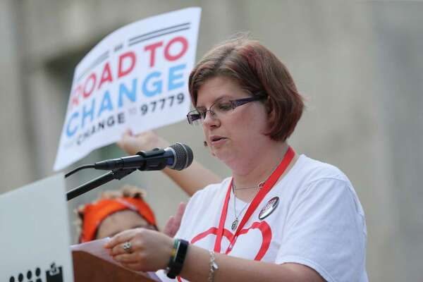 Rhonda Hart, who is a bus driver for Santa Fe, and whose daughter was killed in the school shooting speaks during the Road to Change tour stop at city hall on Sunday, July 8, 2018 in Houston. (Elizabeth Conley/Houston Chronicle)