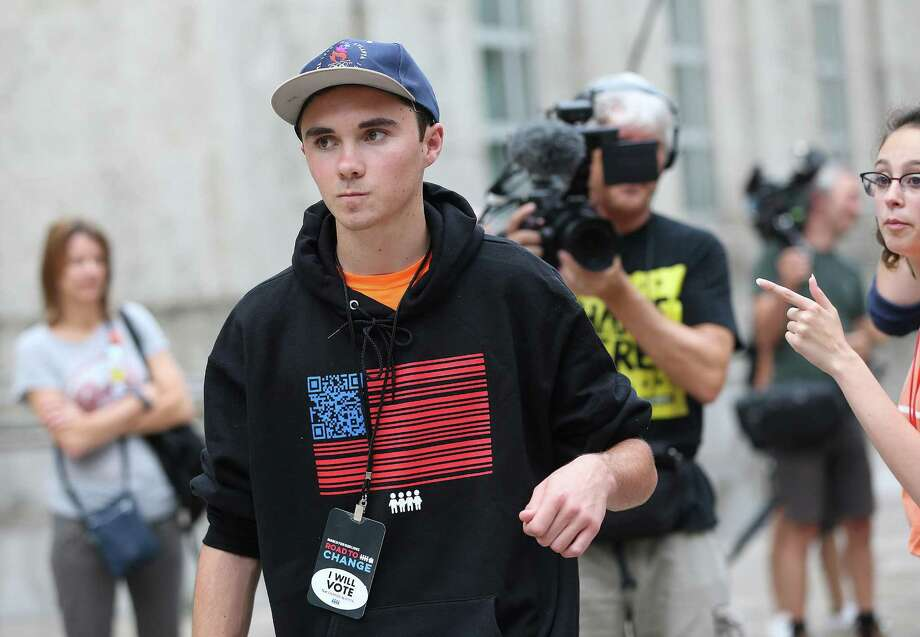 Parkland High School graduate David Hogg walks on stage before the  Road to Change program at city hall on Sunday, July 8, 2018 in Houston.  (Elizabeth Conley/Houston Chronicle) Photo: Elizabeth Conley, Staff / Houston Chronicle / ©2018 Houston Chronicle