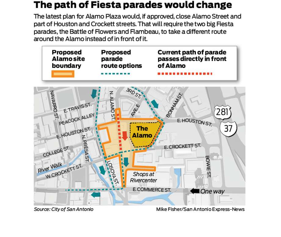 The latest plan for Alamo Plaza would, if approved, close Alamo Street and part of Houston and Crockett streets. That will require the two big fiesta parades, the Battle of Flowers and Flambeau, to take a different route around the Alamo instead of in front of it. Photo: Mike Fisher/San Antonio Express-News