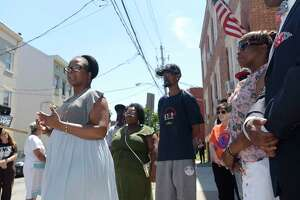 Lisa Good, with Urban Grief, a victim's outreach program, talks about the shootings in the city during a press conference outside of Trinity Alliance on Sunday, July 8, 2018, in Albany, N.Y.   (Paul Buckowski/Times Union)