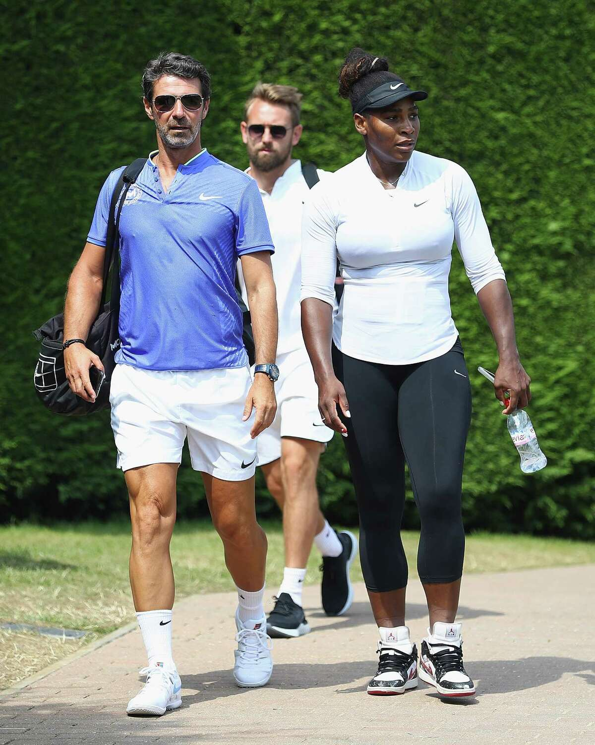LONDON, ENGLAND - JULY 08: Serena Williams of the United States arrives for practise on the middle sunday ahead of the fourth round at All England Lawn Tennis and Croquet Club on July 8, 2018 in London, England. (Photo by Matthew Lewis/Getty Images)