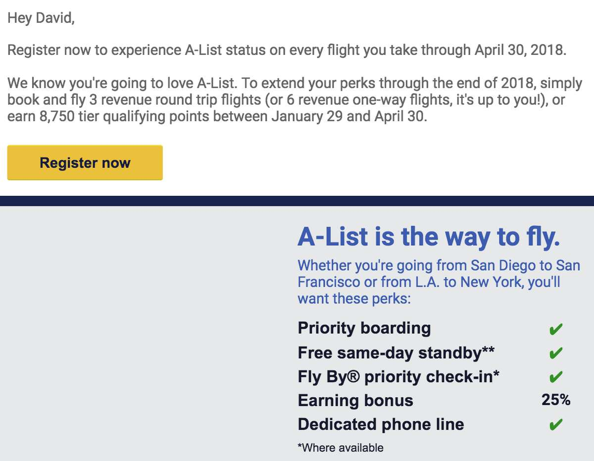 Screenshot of the email DC received from Southwest