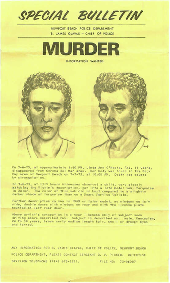 The artist's sketch of the person of interest in 1973, based on witness description of the man in the van. Photo: Newport Beach Police Department. / The Washington Post