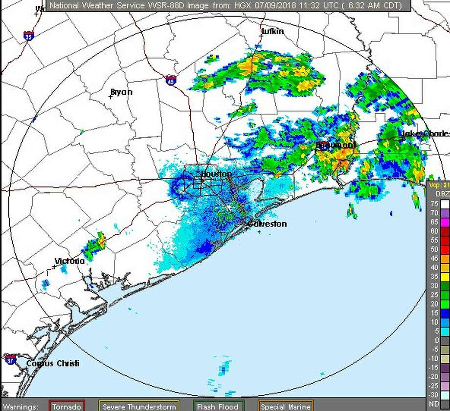 Rain is forecast for much of southeast Texas on Monday, July 9, 2018. Photo: National Weather Service