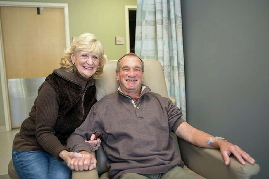 Kevin Ullrich, pictured here with his wife, is keeping a positive attitude after his cancer diagnosis. Ullrich was a match for new treatment in the form of immunotherapy at the Chemotherapy & Infusion Center on the campus of MidMichigan Medical Center - Midland. (Photo provided)