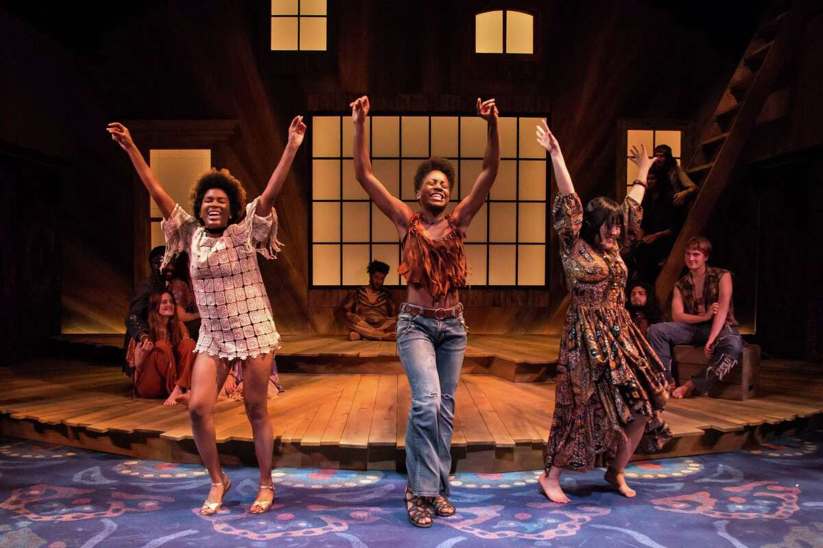 """From left,Ariel Blackwood, Latoya Edwards and Sarah Sun Park in """"Hair"""" at Berkshire Theatre Group."""
