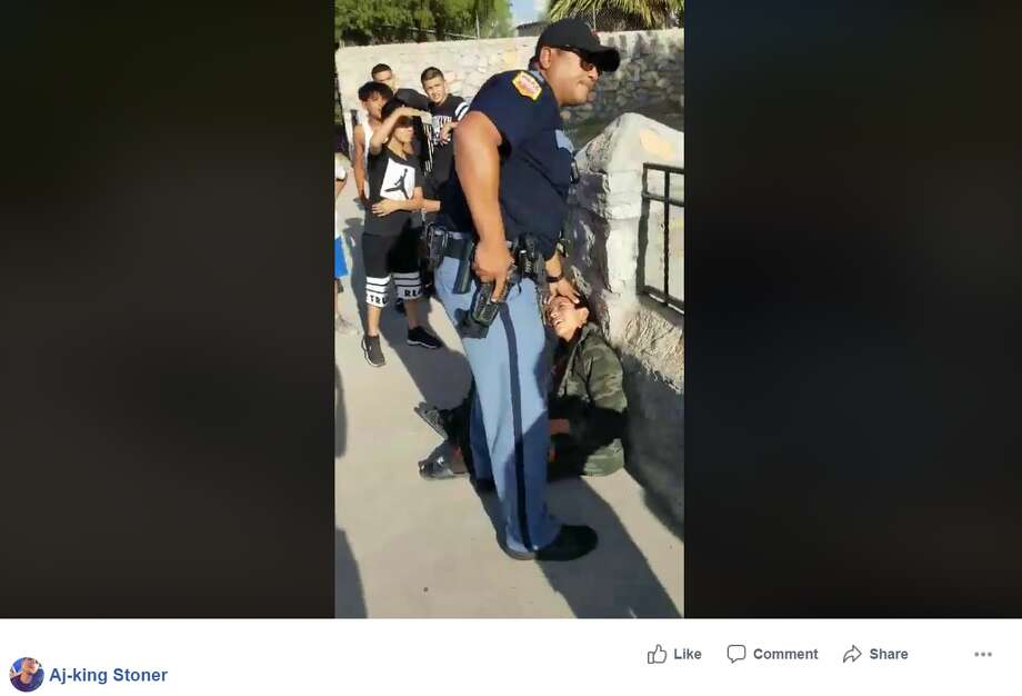 Video shows an El Paso police officer threaten children with a gun, nightstick and arrest the person filming. Photo: Aj-king Stoner Via Facebook