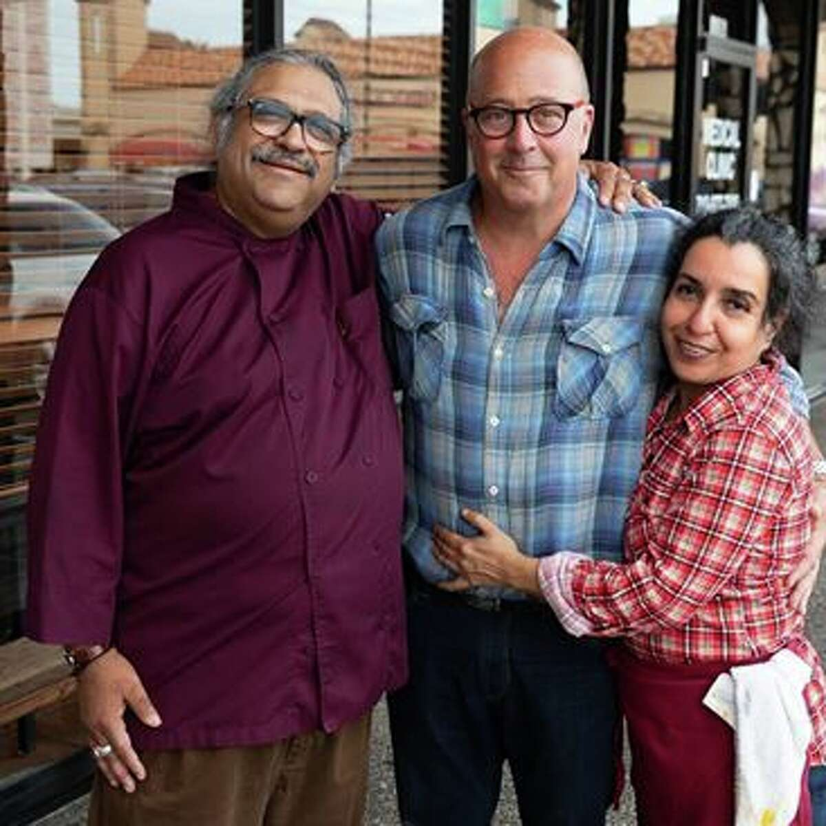 After Andrew Zimmern dined at Himalaya Restaurant Sunday afternoon, owner Kaiser Lashkari updated his Facebook photo with a shot including his wife Azra and the Travel Channel star.