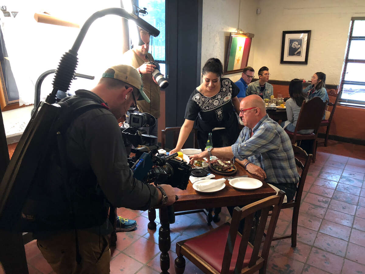Andrew Zimmern taping for