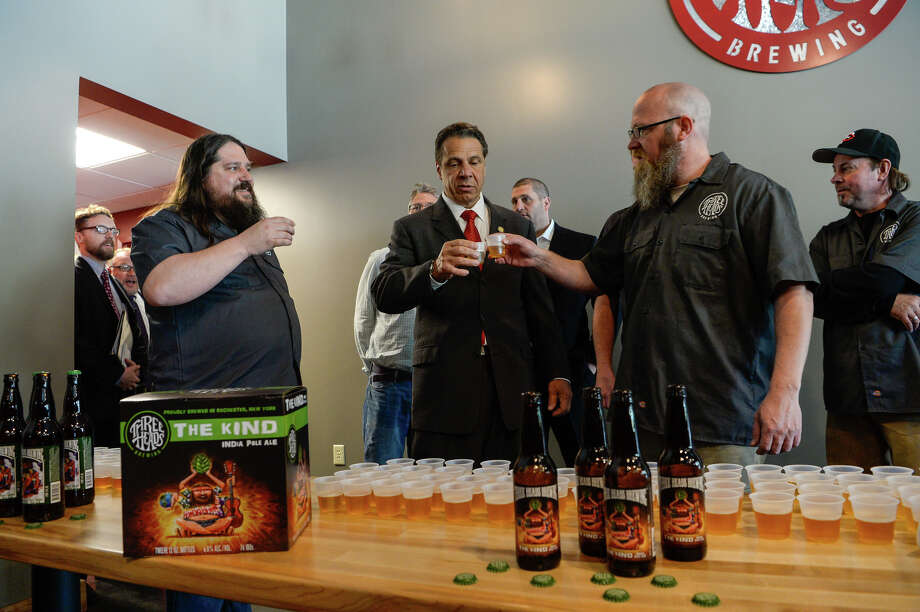 Gov. Andrew Cuomo at Three Heads Brewing in Rochester in 2016. Photo: Executive Chamber Photo
