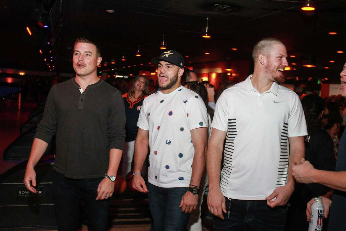 Joe Smith, from left, Lance McCullers and Chris Devenski at George Springer's 4th annual All-Star Bowling Benefit.