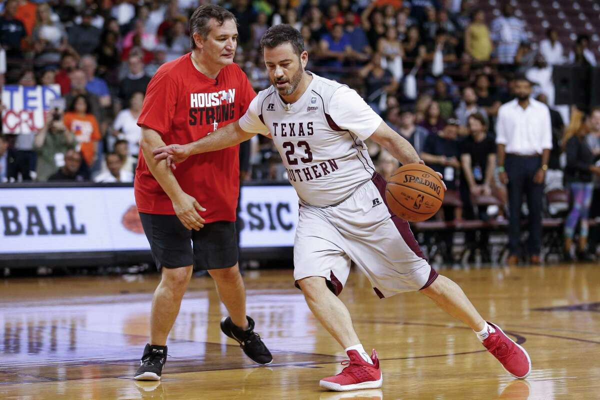 Jimmy Kimmel dribbles around senator Ted Cruz during the Blobfish Basketball Classic and one-on-one interview at Texas Southern University's Health & Physical Education Arena Saturday, June 16, 2018 in Houston. Cruz challenged Kimmel to the game after Kimmel blamed the Houston Rockets playoff loss on the senator. (Michael Ciaglo / Houston Chronicle)