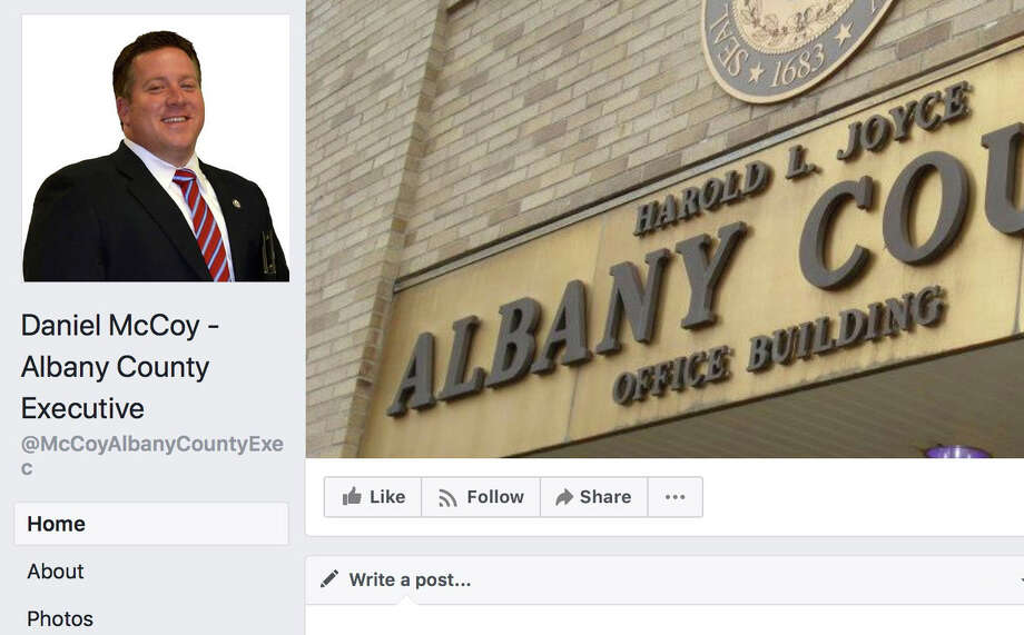 Screen grab from the Albany County Executive's facebook page. Daniel McCoy's facebook page appears to delete, or hide, posts they don't like.