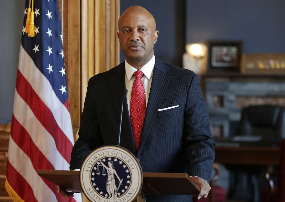 Indiana Attorney General Curtis Hill addresses reporters during a news conference at his office in Indianapolis. He rejected demands to step down. Photo: Michael Conroy / Associated Press