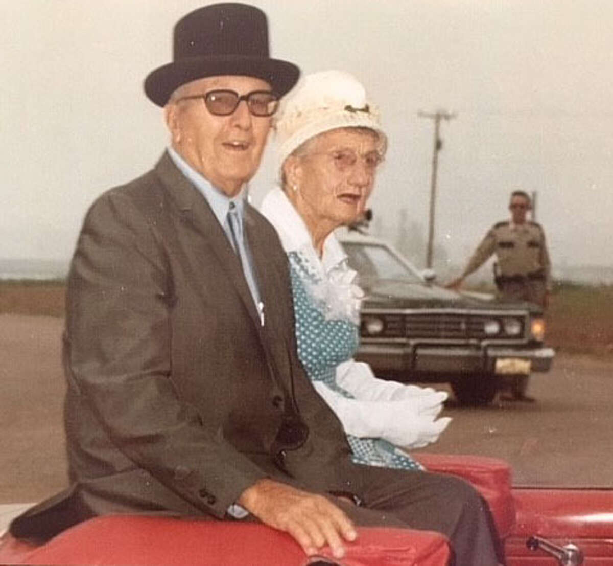 1979 Honored Pioneers Willis and Fredda Hawkins rode in the 1979 Hart Days Parade as its Honored Pioneers. Their son, Robert Hawkins, and wife Leta Mae Hawkins are this year's honorees as 2018 Hart Days Parade Marshals. Only one other child of a Hart Days Honored Pioneer has been a Parade Marshal. That was Joe Percy Hart.
