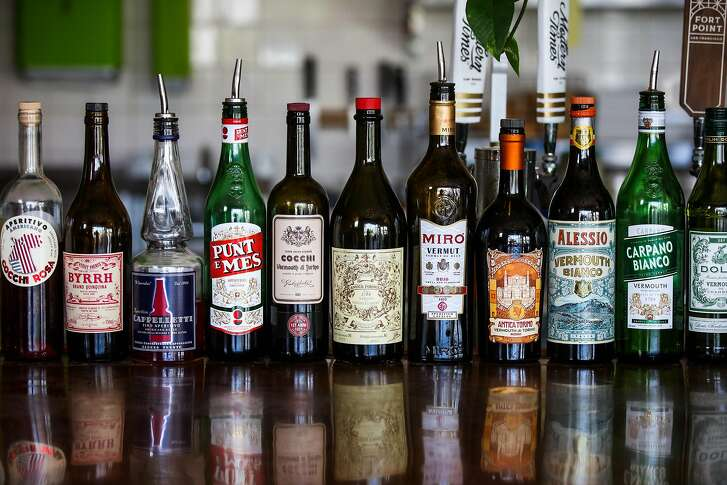 Bottles of vermouth line the bar at Orson's Belly cafe in San Francisco, California, on Wednesday, July 4, 2018.
