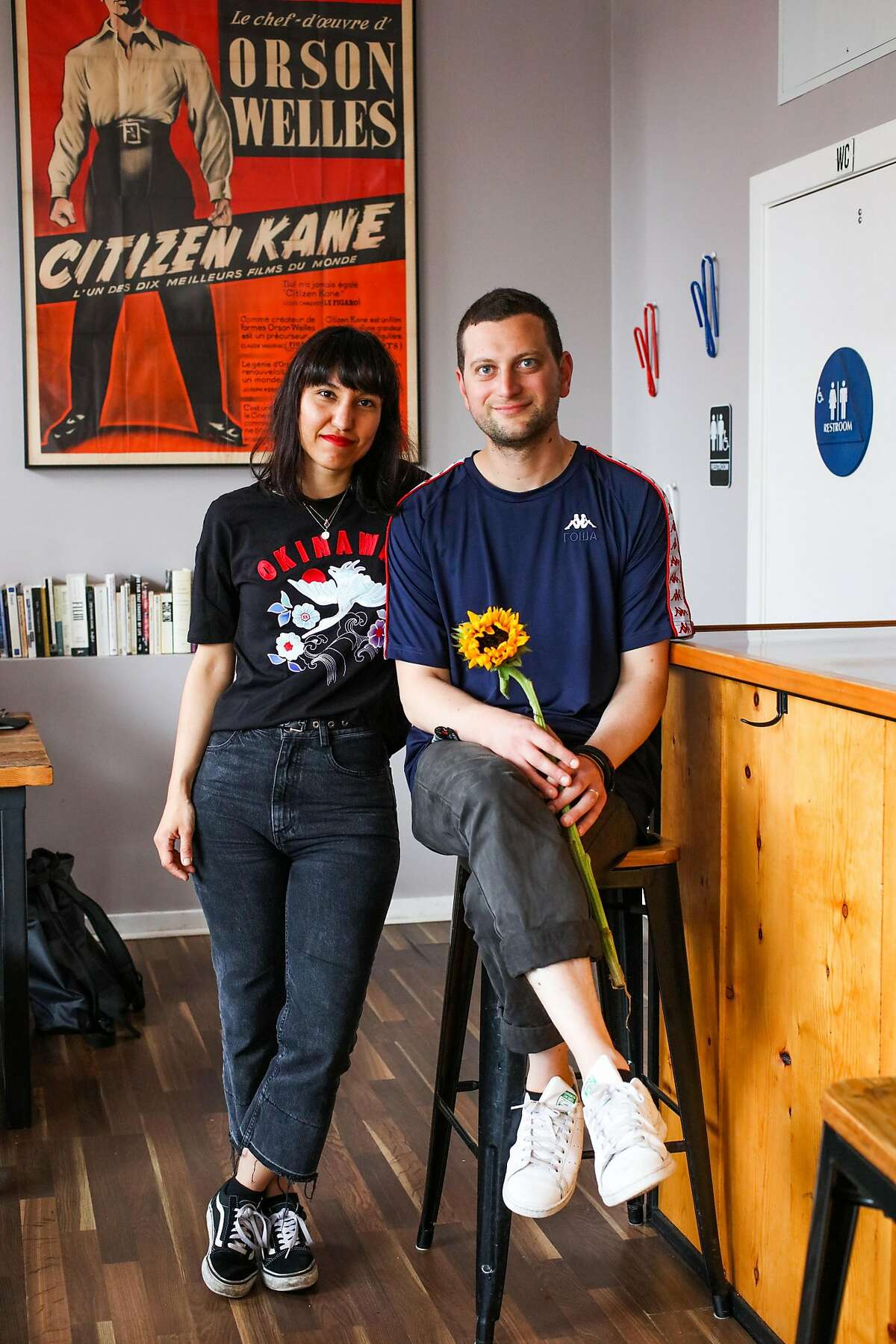 Cigdem Onat Salur and Cem Salur, owners of Orson's Belly pose for a portrait at their cafe in San Francisco, California, on Wednesday, July 4, 2018.