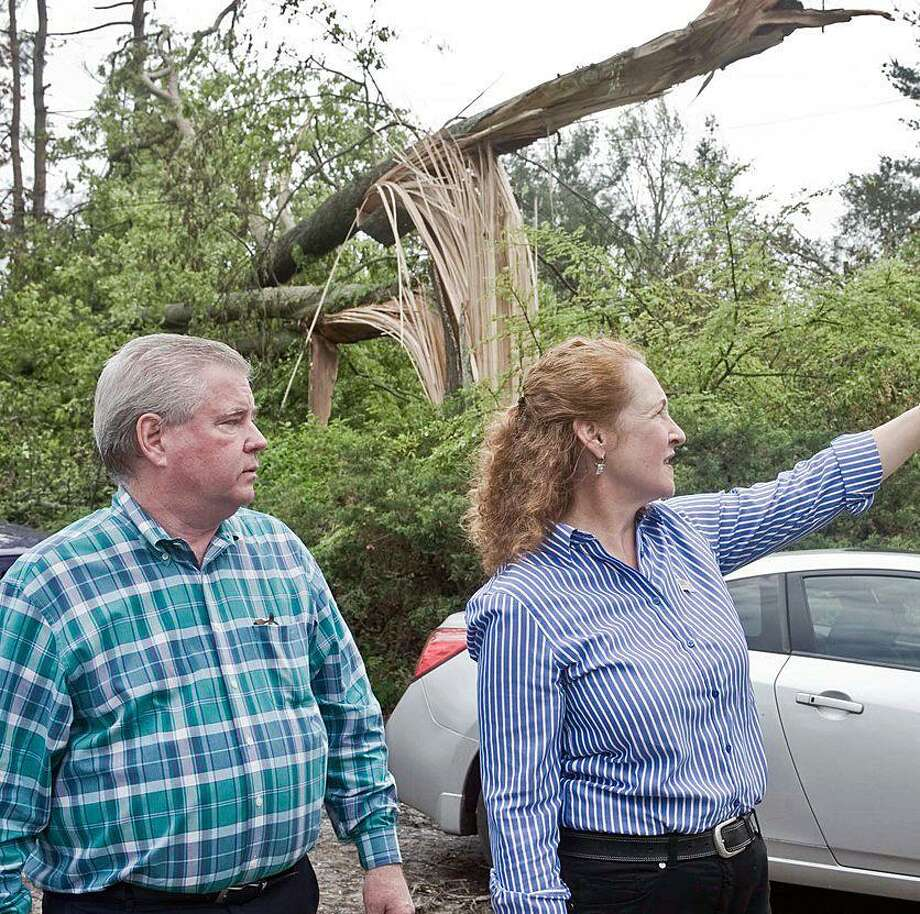 U.S. Rep. Elizabeth Esty and Brookfield First Selectman Stephen Dunn exam a fallen tree on Mist Hill Road in Brookfield in June. Photo: / Carol Kaliff