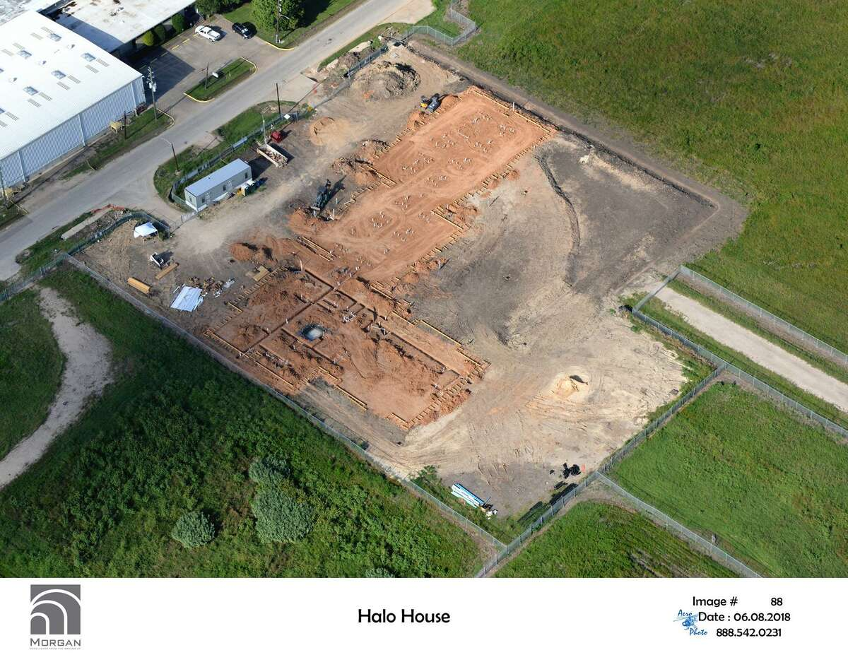 An aerial photo of the Halo House construction site.
