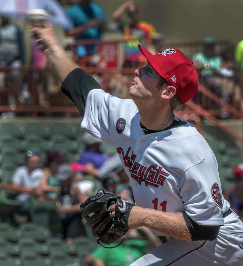 Pitcher J. B. Bukauskas winds up on a pitch during the Valley Cats game against Aberdeen Ironbirds Monday July 9, 2018 at the Joe Bruno Stadium in Troy, N.Y.   (Skip Dickstein/Times Union) Photo: SKIP DICKSTEIN, Albany Times Union / 40044072A
