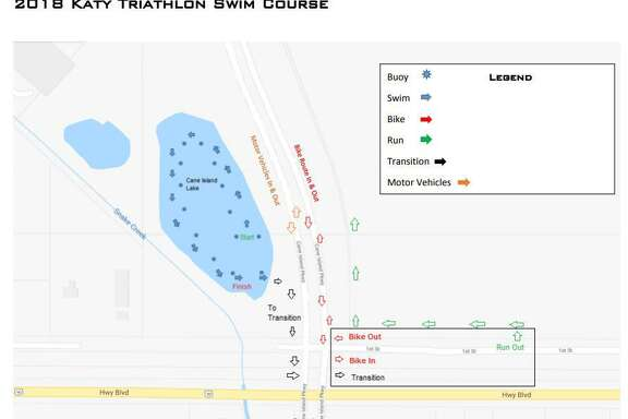 The 500-meter swim of the Katy Triathlon will take place in Cane Island Lake.